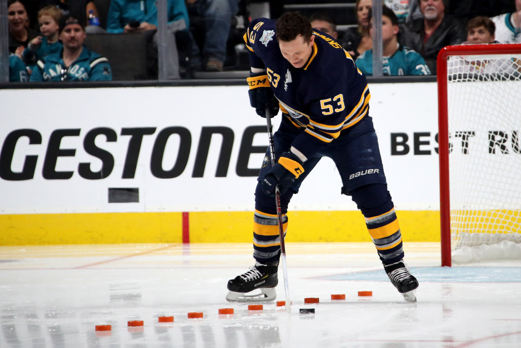 Jeff Skinner works the Puck Control event Friday night in the All-Star Skills Challenge in San Jose. (Getty Images)