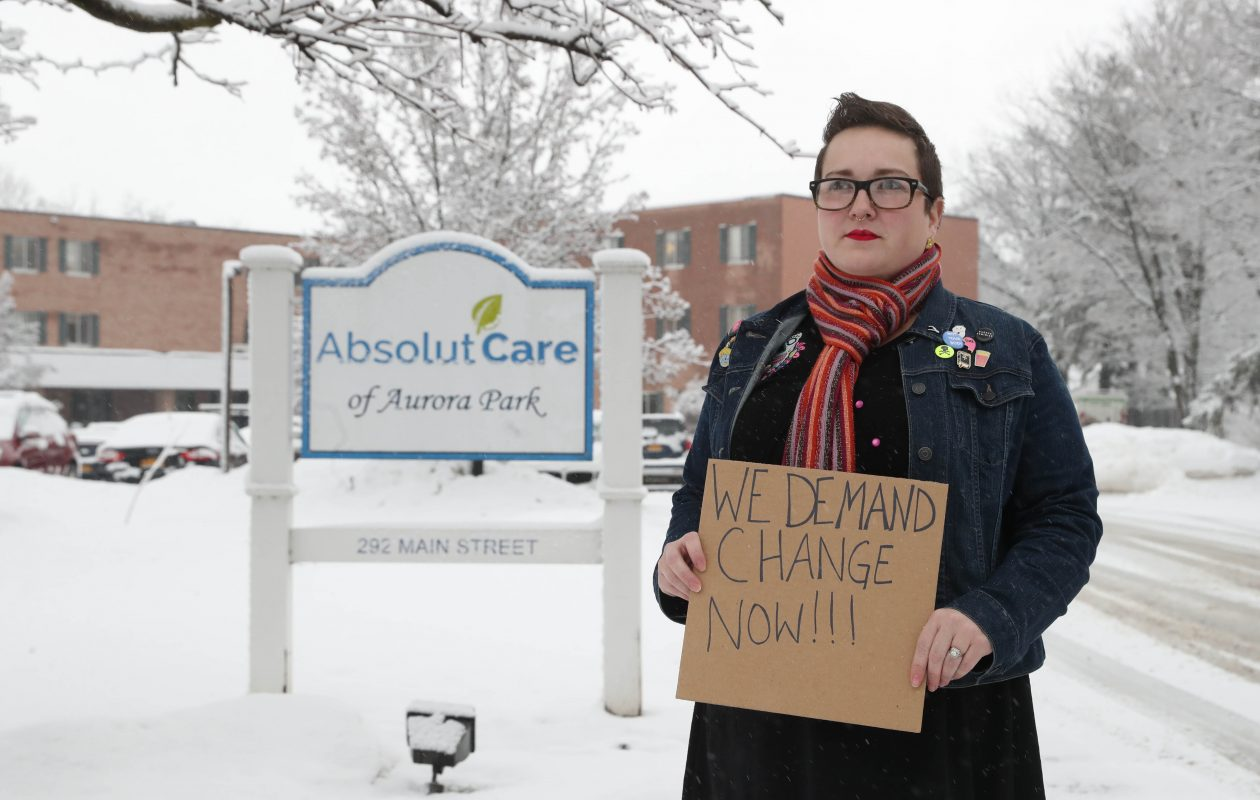 Jennifer Page removed her father from Absolut Care of Aurora Park nursing home in East Aurora because she said it provided poor care. She's started an online petition asking New York State to shut down the facility and is organizing a protest outside the facility at 11 a.m. Sunday, April 28. (Sharon Cantillon/Buffalo News)