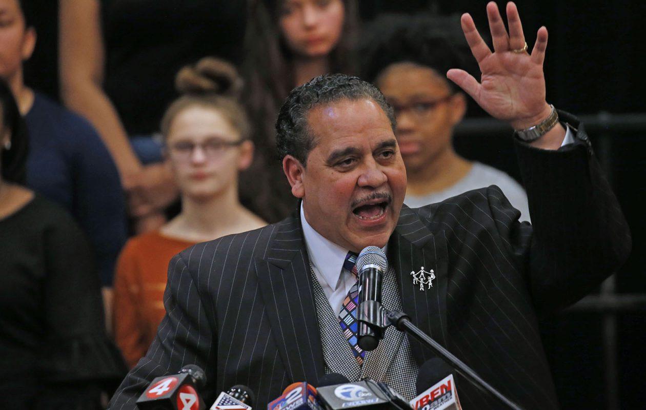 Surrounded by high school students, Buffalo Schools Superintendent Kriner Cash last week declared the Buffalo Public Schools have been turned around.  (Robert Kirkham/Buffalo News)