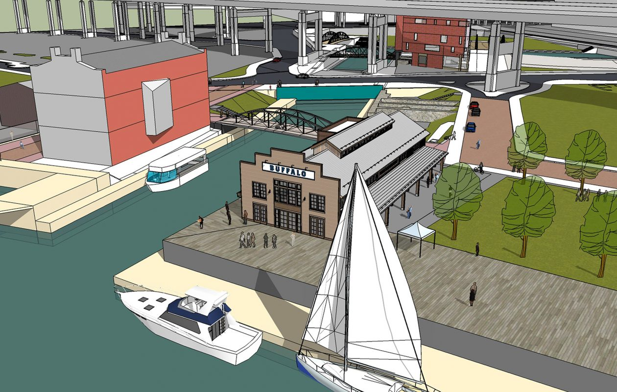 A rendering of the proposed longshed at Canalside where the replica 1825 Erie Canal packet boat will be built.