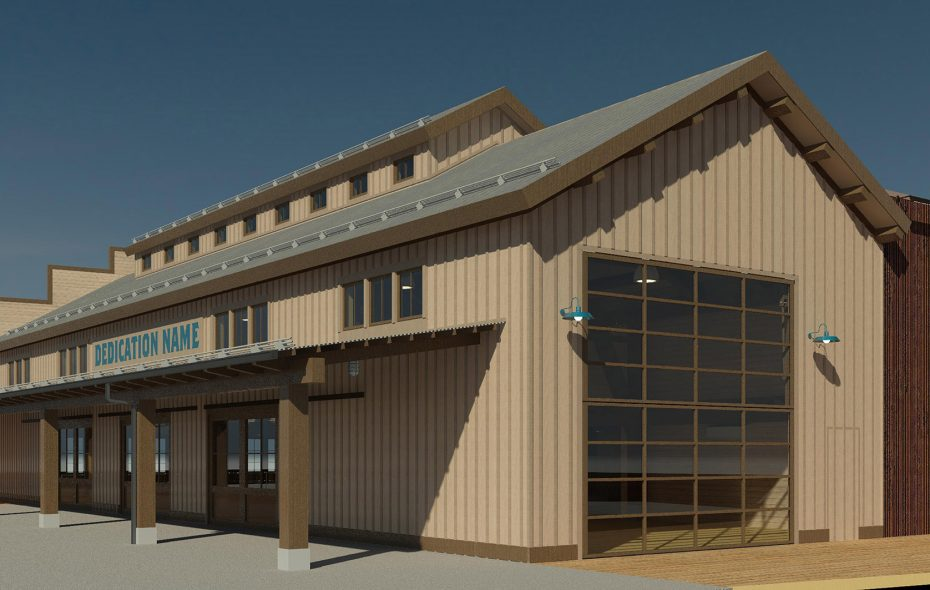 A rendering of the planned Longshed building.