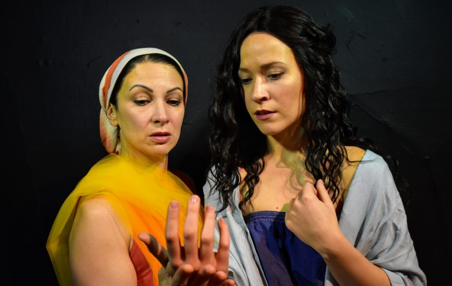 "Diane DiBernardo, left, plays Echo and Anna Krempholtz is Medusa in ""Medusa Undone,"" from Post-Industrial Productions. (Photo courtesy Tim Coseglia)"