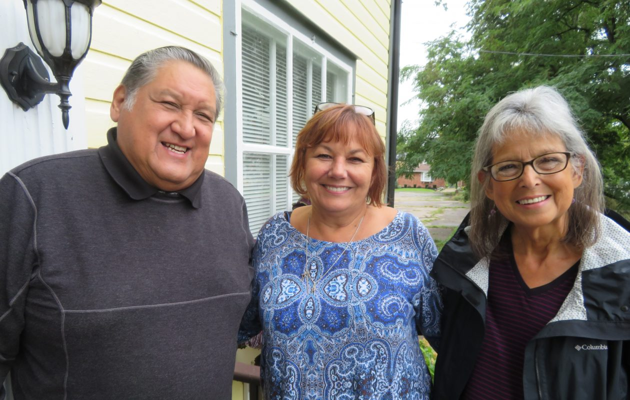 From left to right, Tuscarora Sand Turtle Runner Neil Patterson; Irene Rykaszewski, executive director of the Lewiston Council on the Arts; and White Bear Clan Mother Francene Patterson. (Contributed photo)