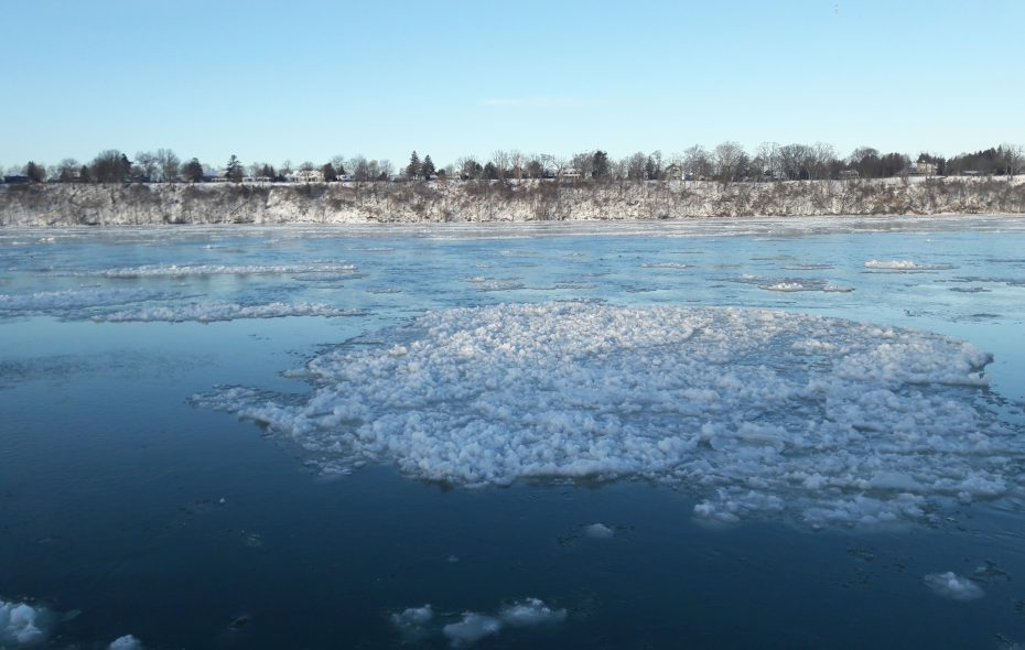 Chunks of ice float in the Niagara River off the village of Lewiston's docks on Wednesday, Jan. 30, 2019. (Mike McAndrew/Buffalo News)