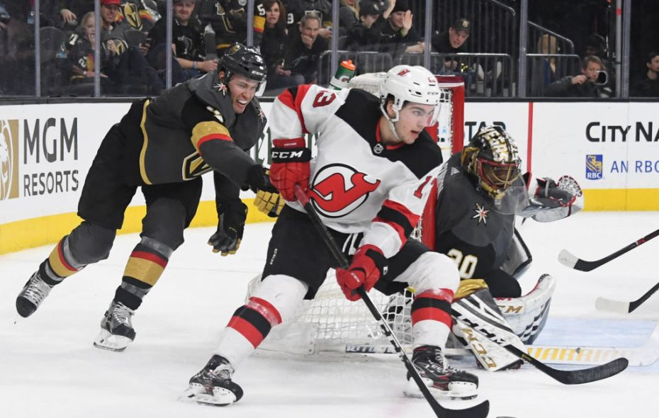 New Jersey center Nico Hischier, the No. 1 overall pick in the 2017 NHL Draft, scored his 12th goal of the season for the Devils in Monday's 3-2 loss at Vegas (Getty Images).