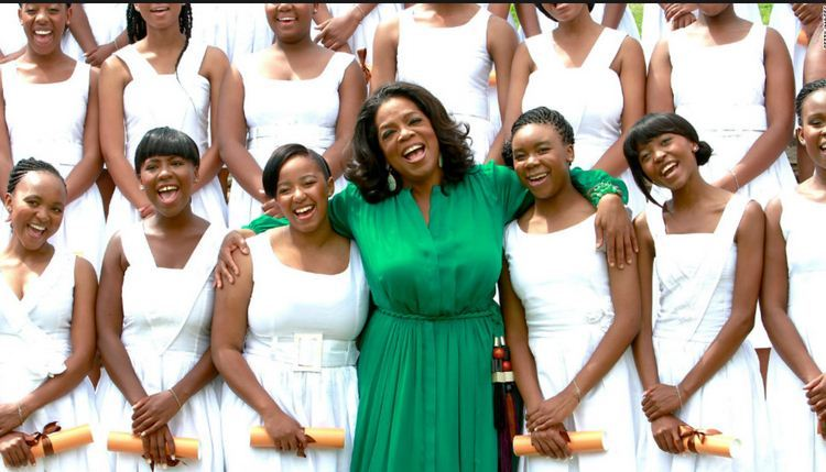 Oprah Winfrey with students from the Oprah Winfrey Leadership Academy for Girls -- South Africa