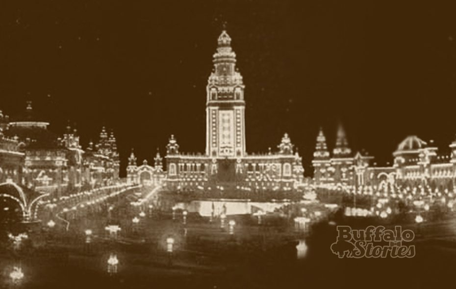 The Electric Tower at the Pan-American Exposition stood in the middle of Amherst Street.