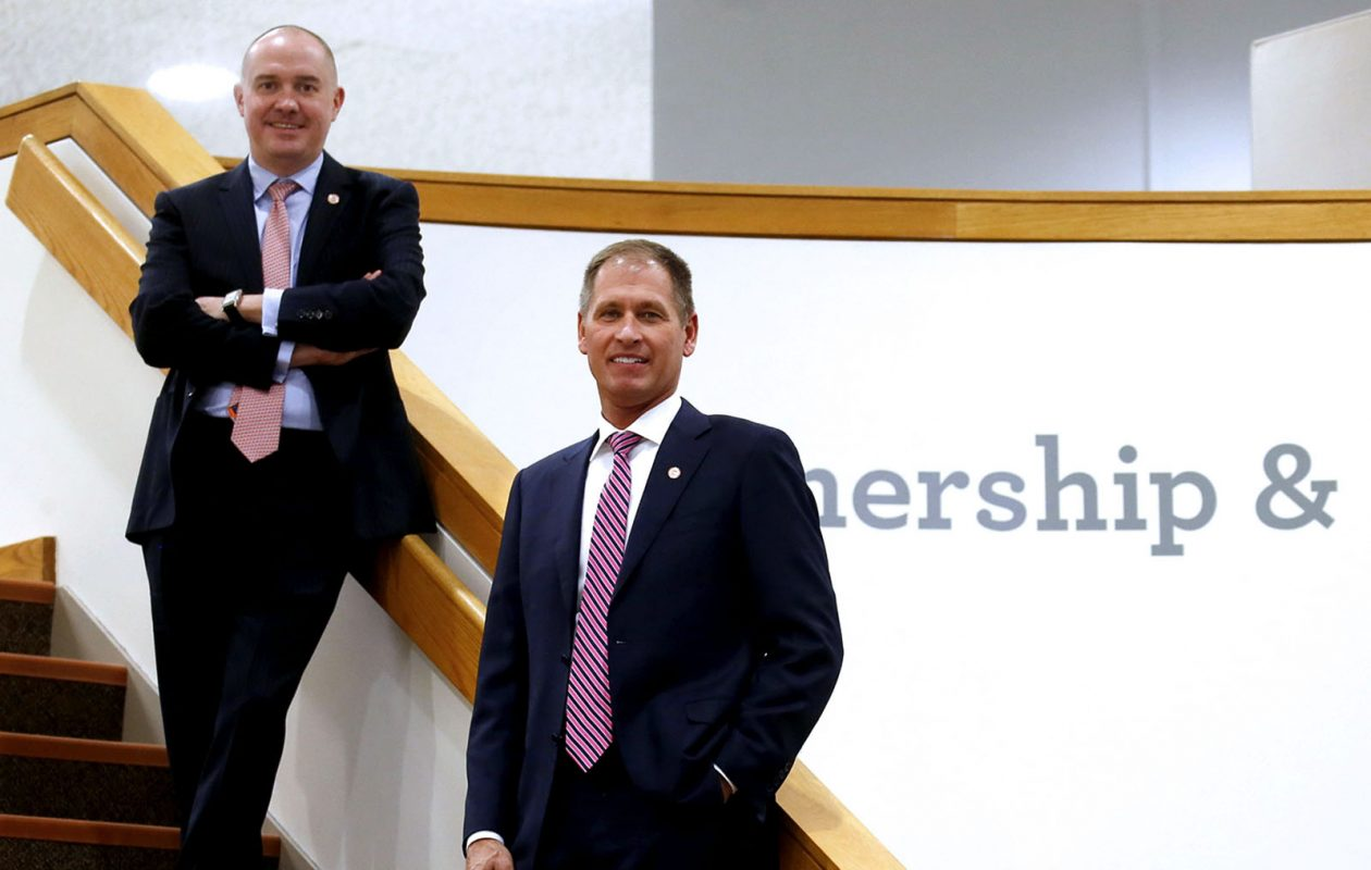 Evans Bank's Dale McKim, left, chief risk officer, and Kenneth Pawlak, chief commercial banking officer. (Robert Kirkham/Buffalo News)