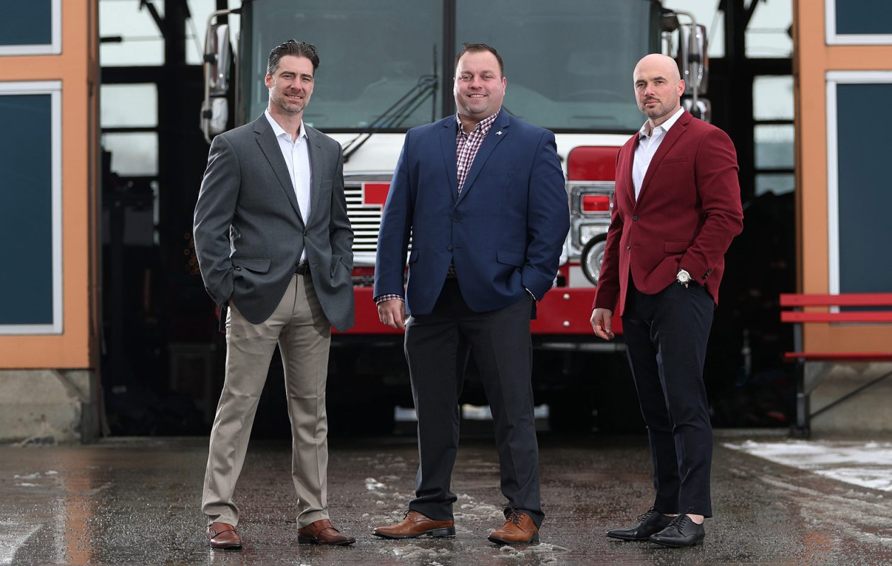 The owners of Hook & Ladder Development are also firefighters. From left are Gino Gatti, John Otto and Peter Scarcello. (Sharon Cantillon/Buffalo News)