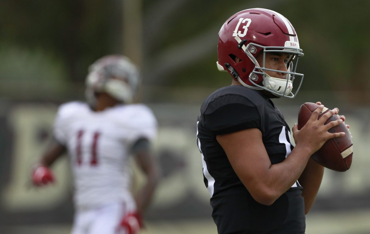 Quarterback Tua Tagovailoa and Alabama are going for another national championship Monday. (Getty Images)