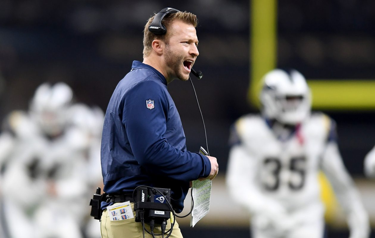 Los Angeles Rams head coach Sean McVay argues with a referee against the New Orleans Saints in the NFC Championship game on Sunday. (Wally Skalij/Los Angeles Times/TNS)