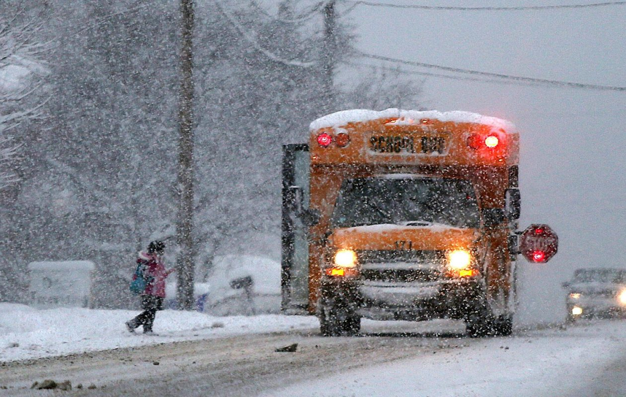 The decision about whether school will be open includes concern about children waiting at the bus stop in dangerous cold. (Robert Kirkham/Buffalo News file photo)