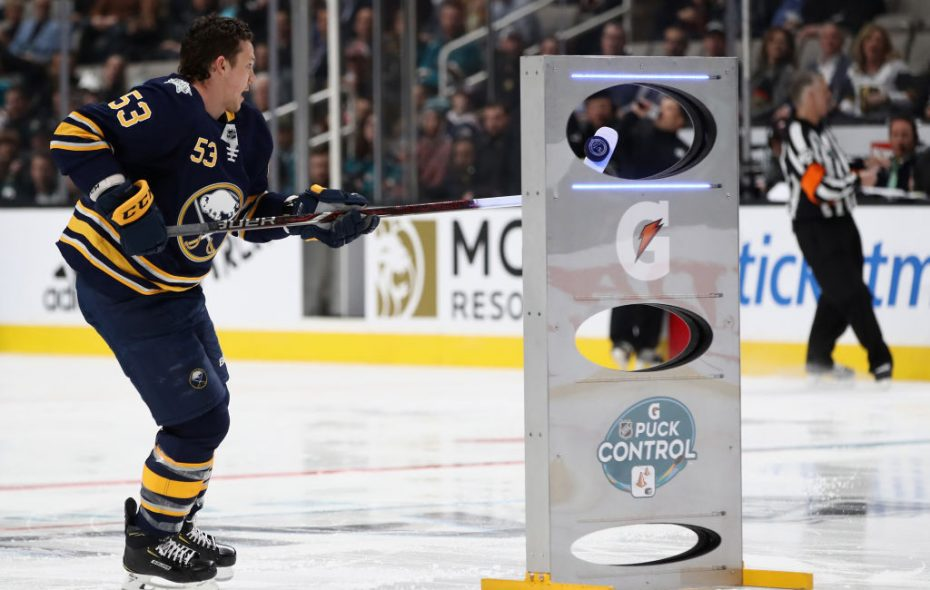 Sabres winger Jeff Skinner cradles the puck through the target in the Puck Control Relay Friday night in San Jose. (Getty Images)
