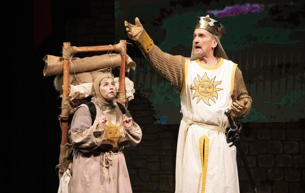 Arin Dandes, left, as Patsy, and Greg Gjurich, as King Arthur, in 'Spamalot' at Kavinoky Theatre. (Photo by Gene Witkowski)