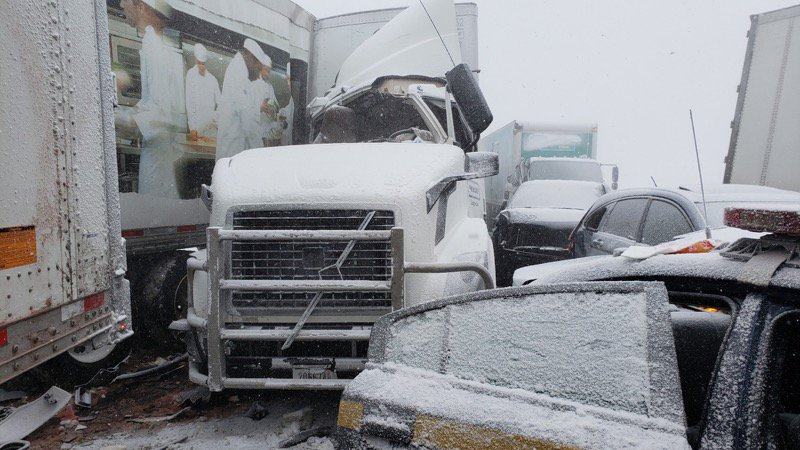 This photo from the New York State Police shows a portion of a multiple-vehicle crash that closed the eastbound lanes of the Thruway near Batavia Wednesday afternoon.