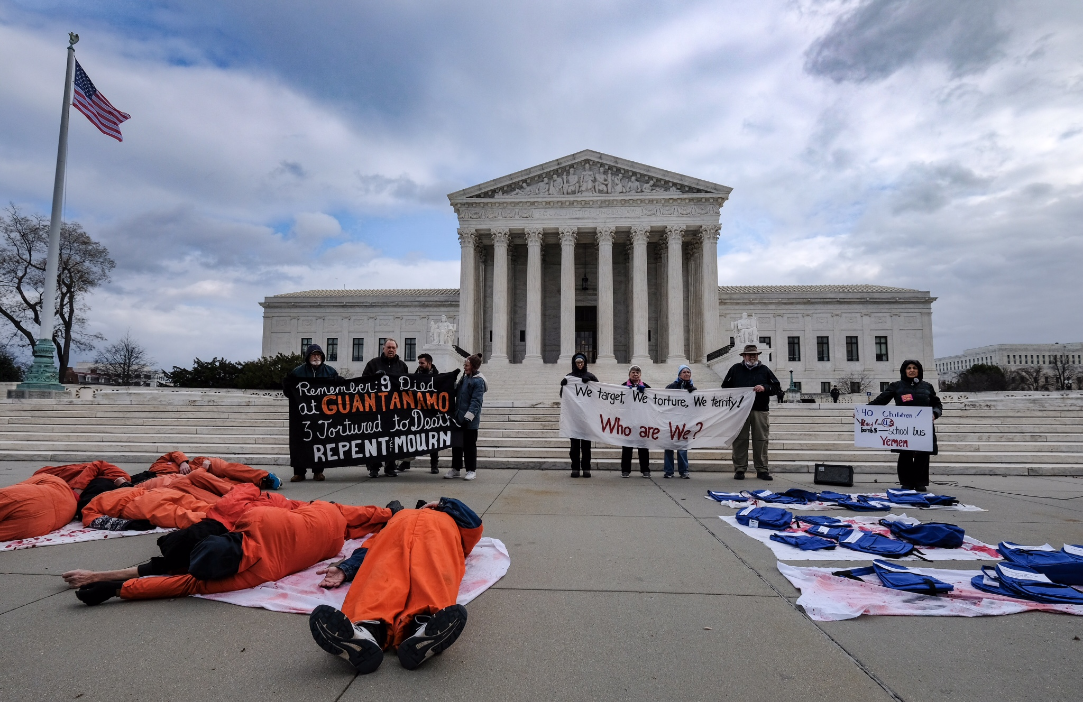 Protesters in front of the Supreme Court on Wednesday. (Photo provided by the Western New York Peace Center.)