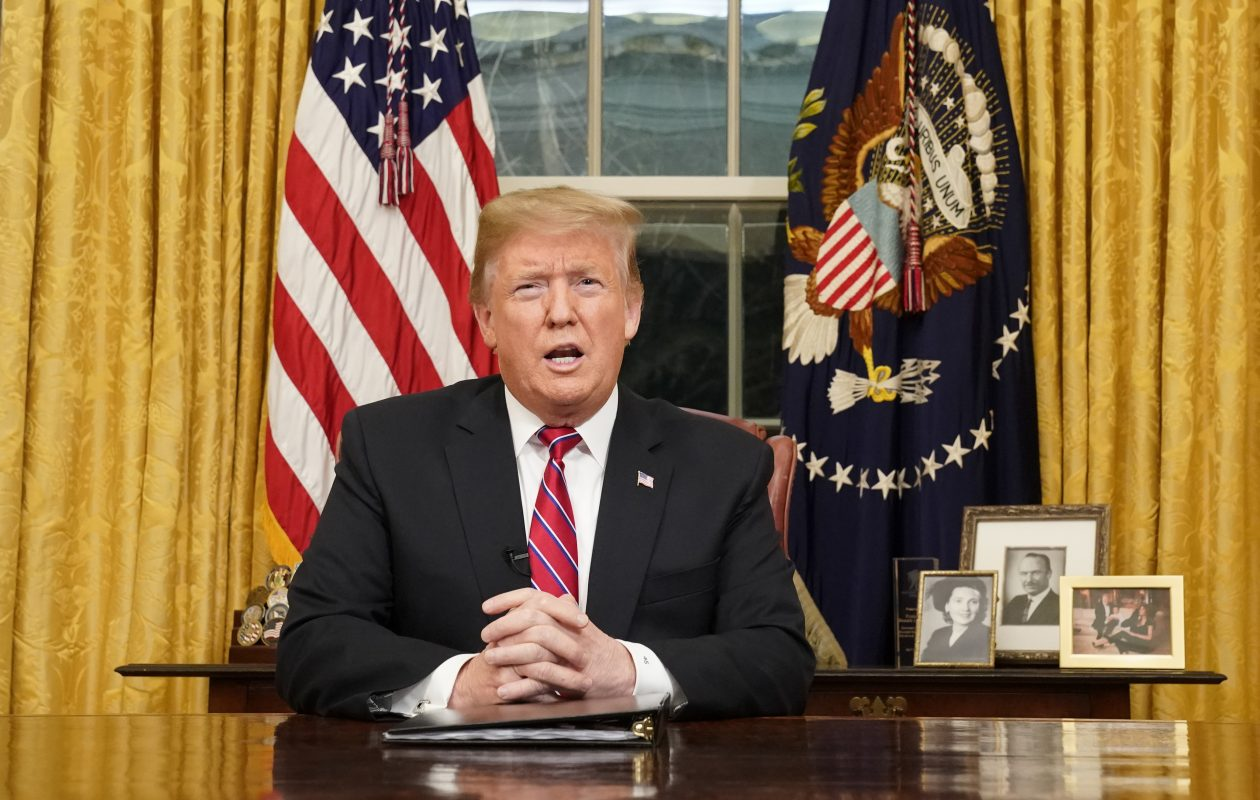 President Donald Trump addresses the nation about border security from the Oval Office of the White House in Washington, Jan. 8, 2019. (Carlos Barria/Pool via The New York Times)