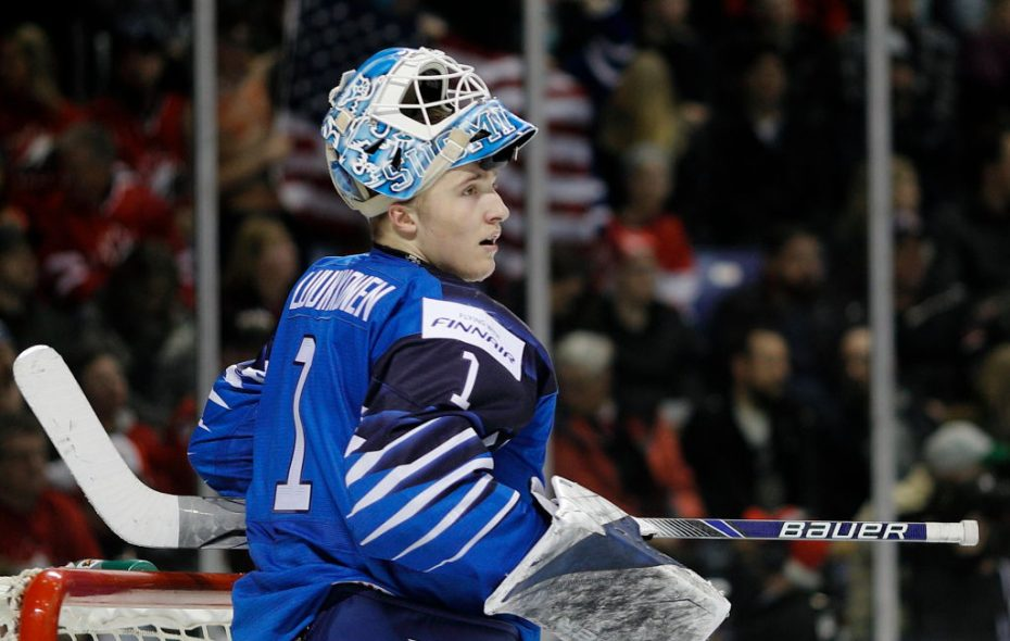 Finland goalie and Sabres prospect Ukko-Pekka Luukkonen, shown earlier in the tournament, led his team to a quarterfinal upset of Canada. (Getty Images)