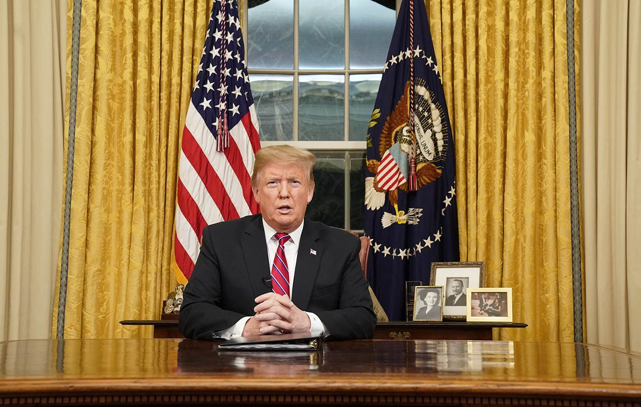 President Donald Trump speaks to the nation Tuesday night. (Carlos Barria/Getty Images/Pool/Abaca Press/TNS)