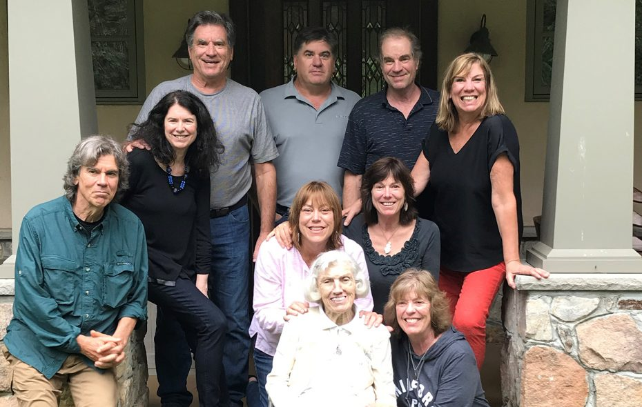 The nine Volk children – including four sets of twins – gather around their 93-year-old mother, Vivian, at a reunion last October. (Family photo)