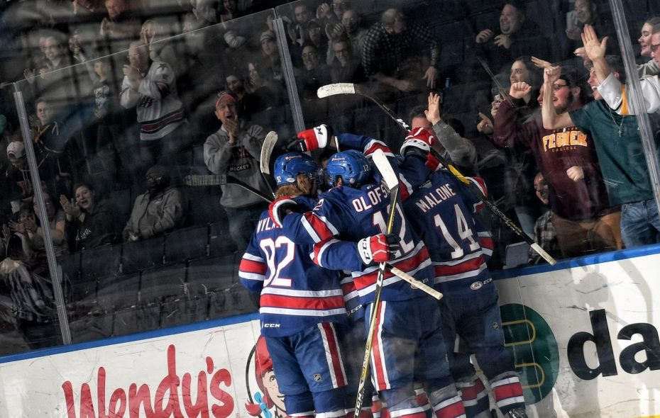 The Amerks' depth has been a huge factor in their bid for a second consecutive playoff appearance. Halfway through the season, they've earned 48 points, putting them first in the North Division, a spot the 23-14-2 club has occupied all but a few days. (Micheline Veluvolu/Rochester Americans)