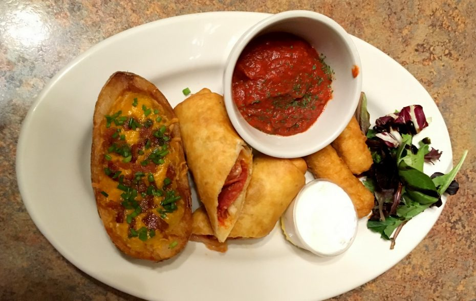 Stuffed potato skins, pizza logs are part of the appetizer menu at the reopened Boston Hotel. (Meagen Mrugala)