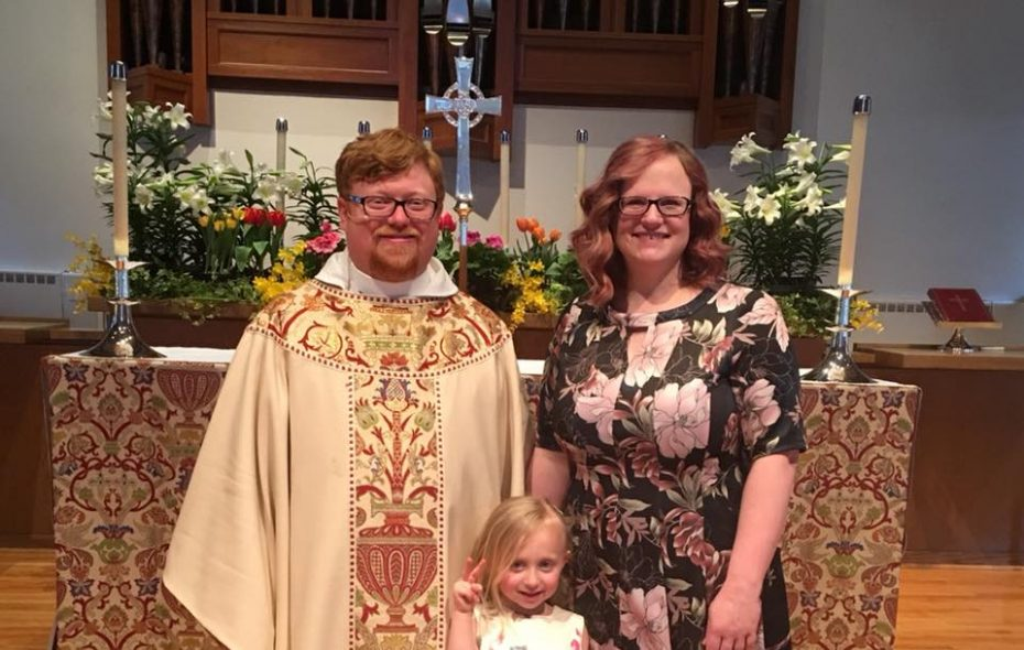 The Rev. R. Derrick Fetz, new dean of St. Paul's Episcopal Cathedral, with his wife, Jamie, and their daughter Mari.