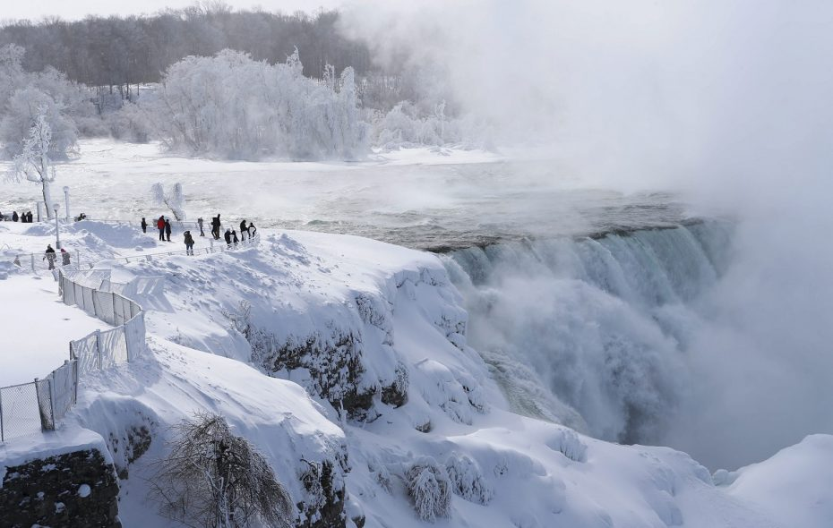 Extreme cold early in 2015 from a prolonged intrusion of polar air had beautiful side effects at Niagara Falls State Park, where mist from the waterfalls covered everything with a layer of ice. (Derek Gee/News file photo)