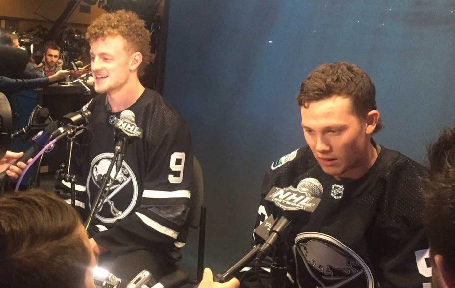 Jack Eichel, left, and Jeff Skinner meet the media Thursday in San Jose (Mike Harrington/Buffalo News).