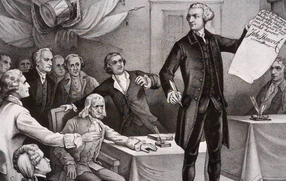 John Hancock signs the Declaration of Independence in 1776.