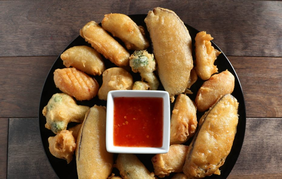 Tempura vegetable assortment, battered and fried vegetables with sweet chili sauce, at Lime House. (Sharon Cantillon/Buffalo News)