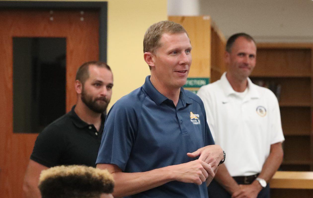 Longtime track coach Brian Lombardo attended Nate Davis' college signing in July.(James P. McCoy/Buffalo News)