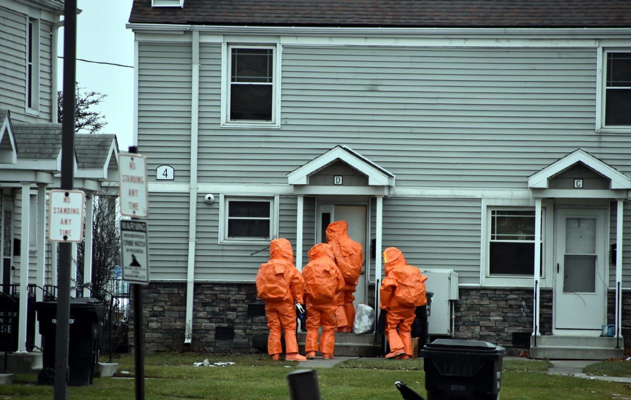 The 914th Air Force Reserve and Niagara County Hazmat team entered 4 Packard Court on Dec. 26, 2018, to collect samples for testing after 21 law enforcement officers who participated in a raid there came down with flu-like symptoms. (Larry Kensinger/Special to the News)