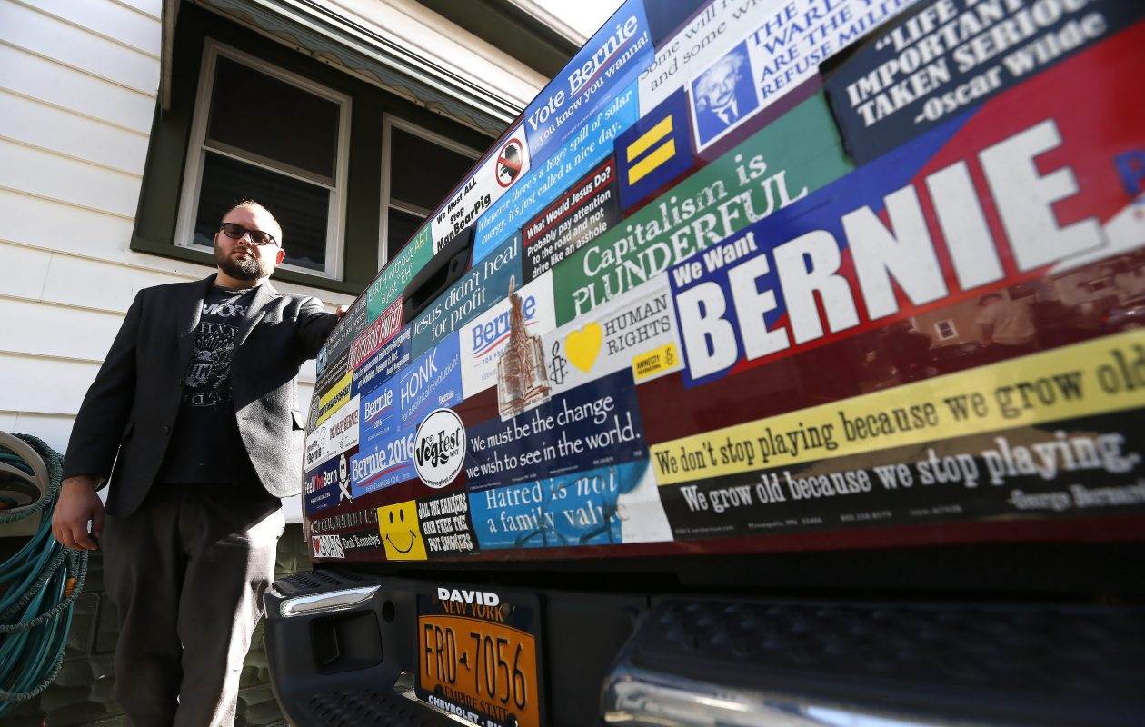 Bernie Sanders supporter Brian Nowak, now elected to the Cheektowagara Town Board, in a June 2016 file photo.  (Robert Kirkham/Buffalo News)