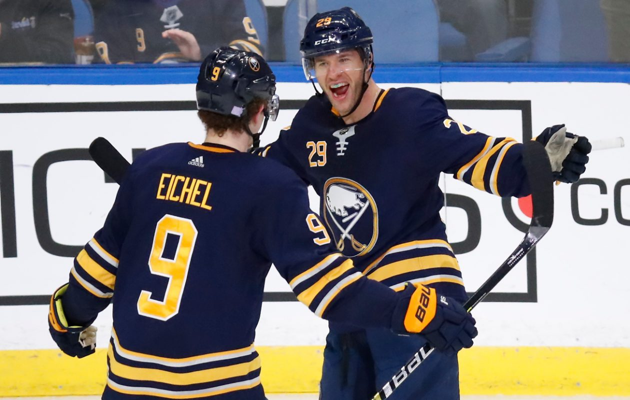 Jason Pominville, right, gets back into the Sabres' lineup tonight in Montreal (Harry Scull Jr./News file photo)