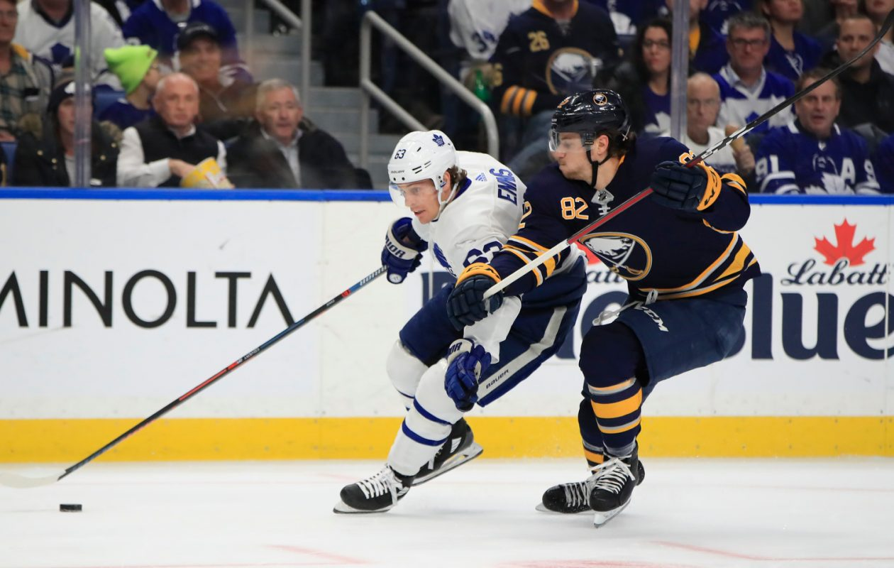 Nathan Beaulieu (82), defending former Sabre Tyler Ennis in a December game against Toronto, has played in only four of the Sabres' last 26 games. (Harry Scull Jr./News file photo)