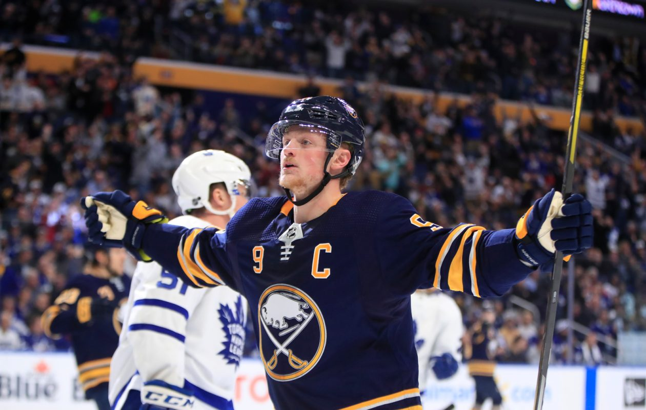 Jack Eichel returns to the lineup Saturday, hoping to help the Buffalo Sabres celebrate a goal. (Harry Scull Jr./News file photo)