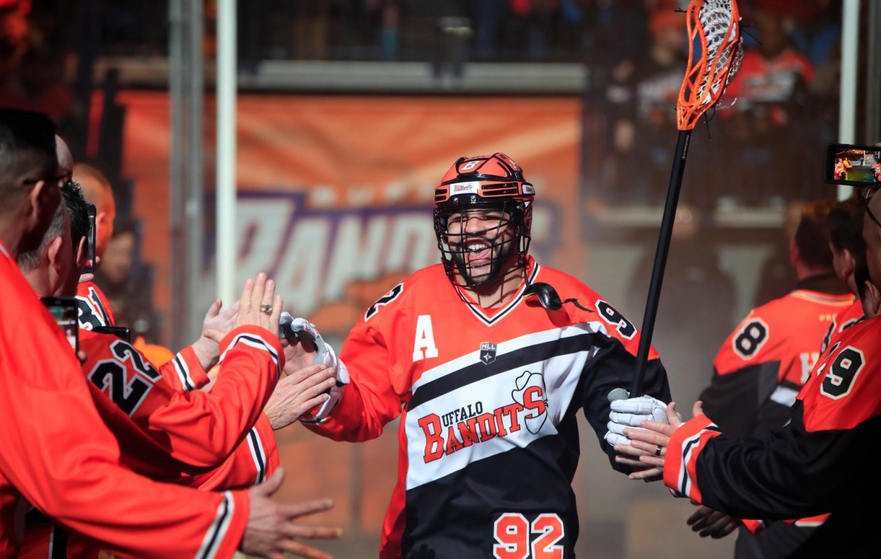 Buffalo Bandits Dhane Smith is introduced prior to playing the Philadelphia Wings at the KeyBank Center on Jan. 19, 2019. (Harry Scull Jr./News file photo)