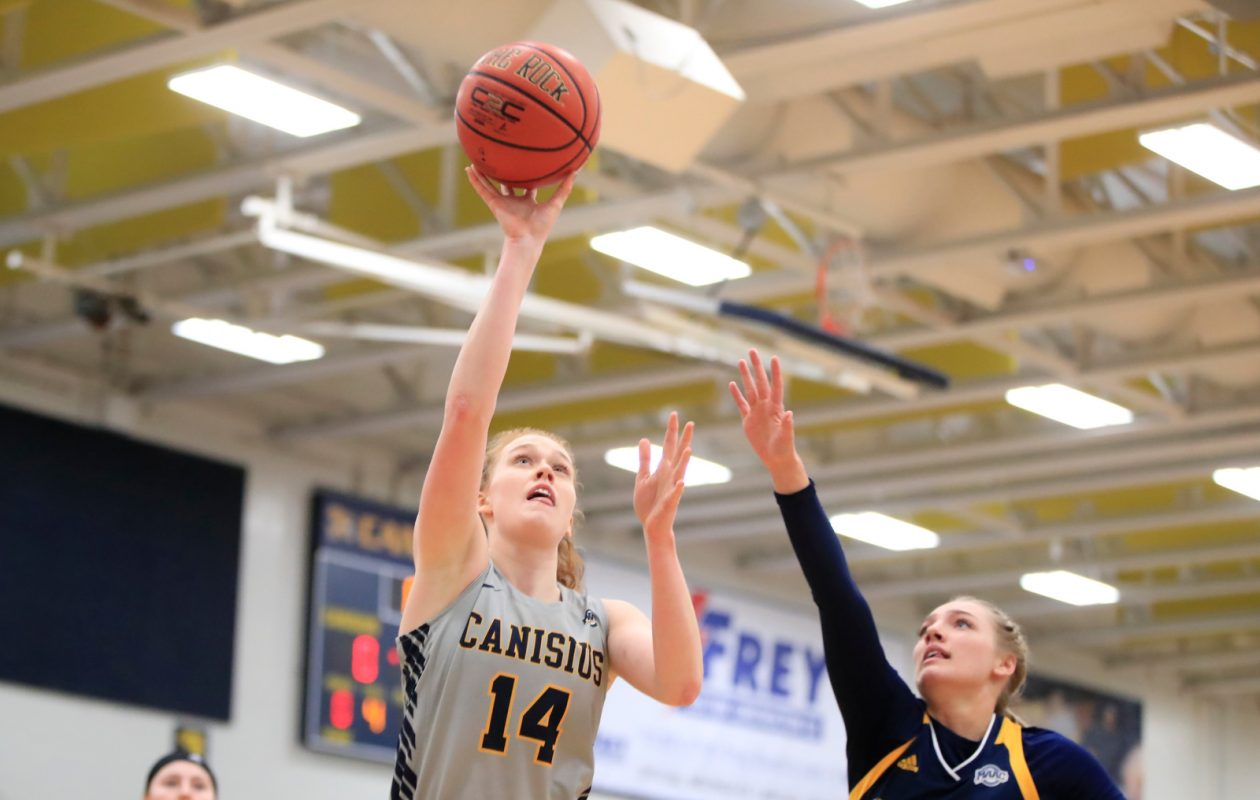 Canisius forward Sara Hinriksdottir shoots against Quinnipiac during the first half of a College basketball game at the Koessler Center on Sunday, Jan. 20, 2019. (Harry Scull Jr./ Buffalo News)
