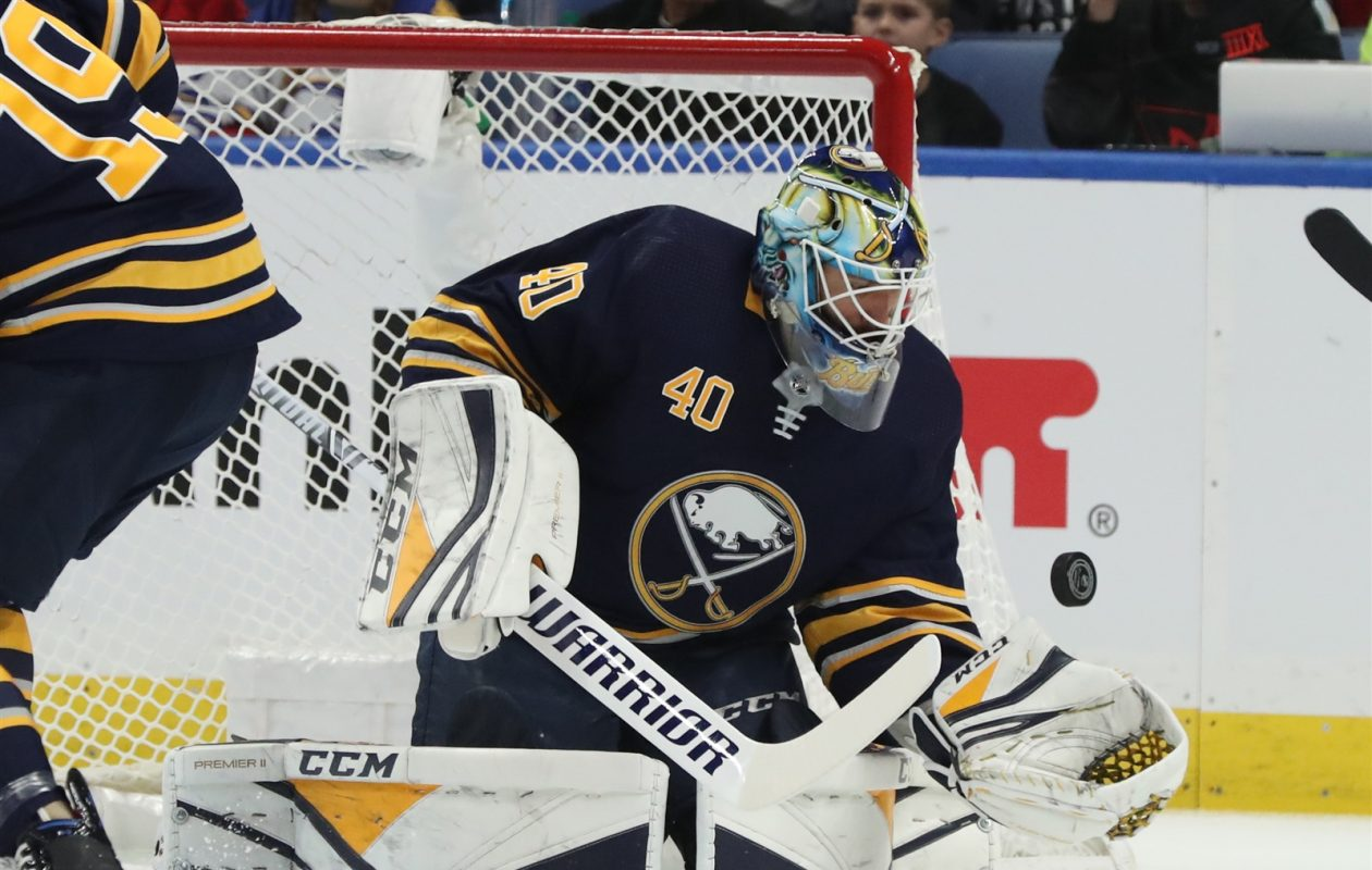 Buffalo Sabres goalie Carter Hutton stops a shot Saturday against the  Washington Capitals in KeyBank Center 1d192d2f1bb9