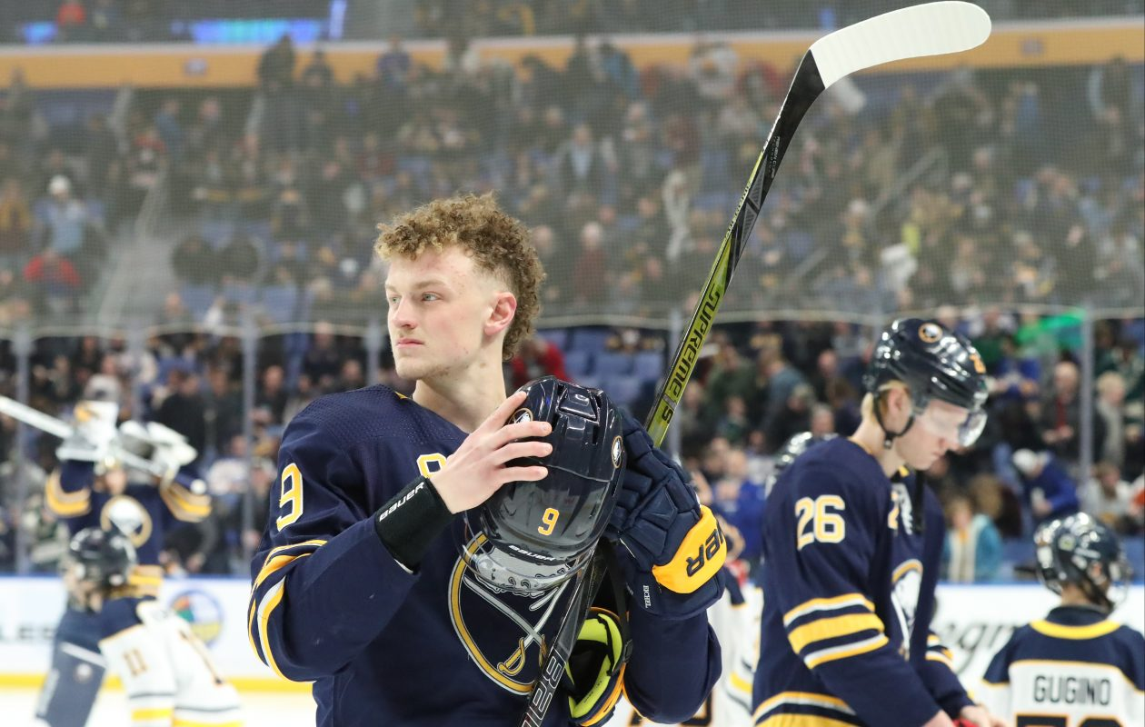 Sabres center Jack Eichel skates around the ice before the start of the game on Tuesday, Feb. 5, 2019. (James P. McCoy Jr./Buffalo News)