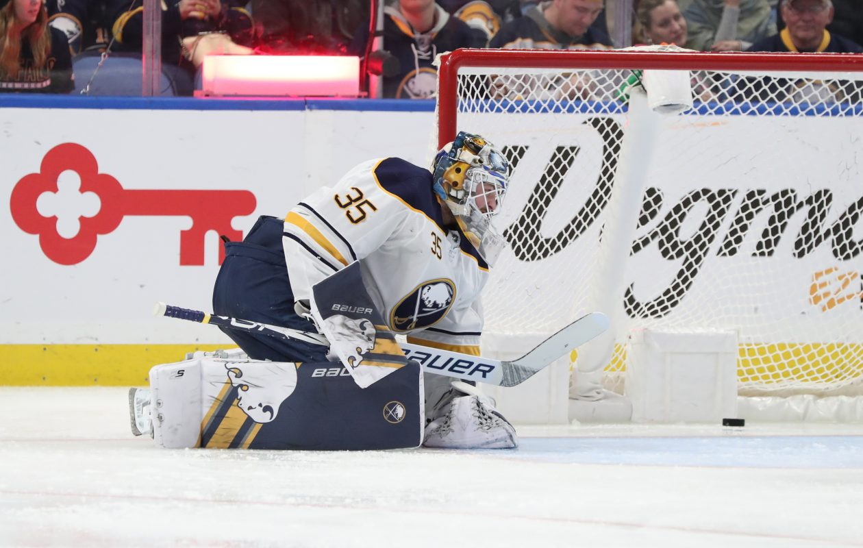 Buffalo Sabres goaltender Linus Ullmark (35) lets in the second goal of the game in the second period Thursday at KeyBank Center. (James P. McCoy/Buffalo News)