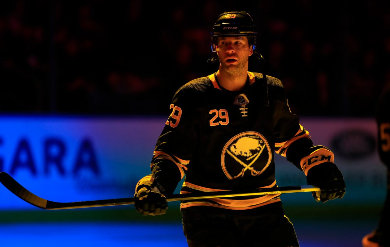 Buffalo Sabres Jason Pominville prior to playing the Detroit Red Wings in  the first period at the KeyBank center on Saturday, Feb. 9, 2019. (Harry Scull Jr./Buffalo News)