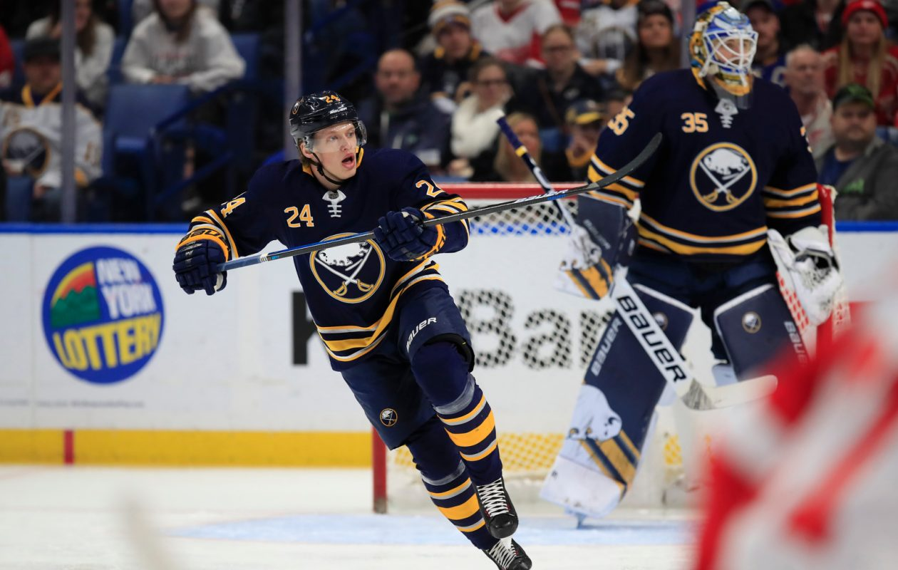 Buffalo Sabres defenseman Lawrence Pilut skates against the Detroit Red Wings. (Harry Scull Jr./Buffalo News)