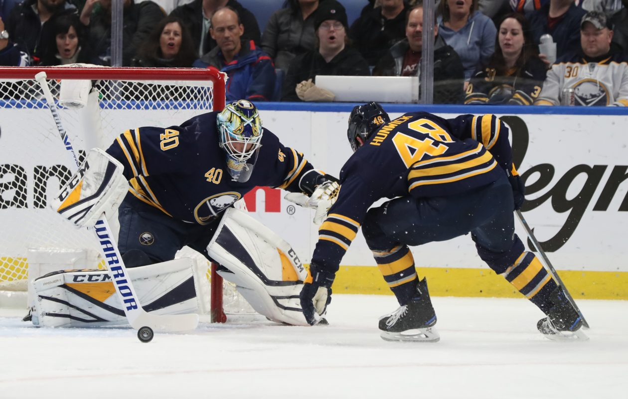 Buffalo Sabres goaltender Carter Hutton (40) makes a save in the first period at Key Bank Center in Buffalo, NY on Sunday, Feb. 10, 2019.