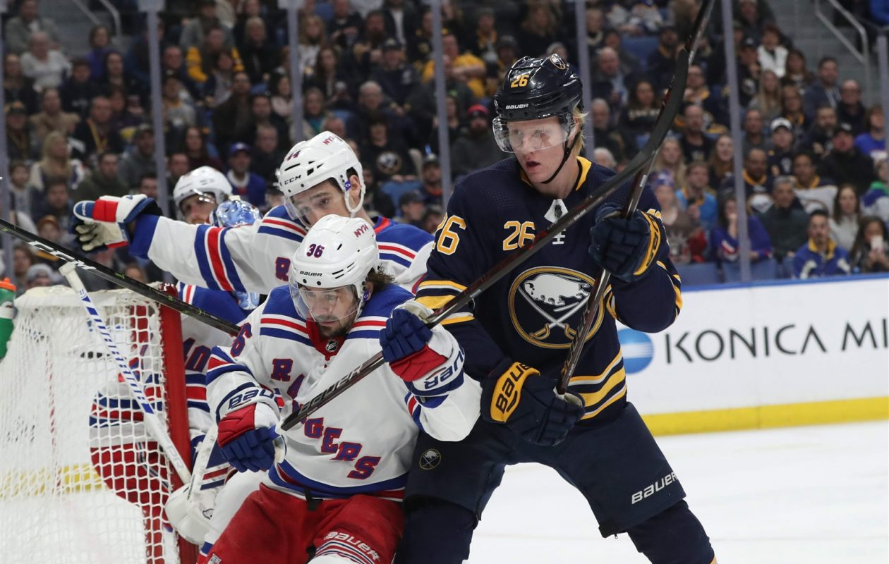 6cd86a258 Buffalo Sabres defenseman Rasmus Dahlin had a minus-1 rating Friday night  against the New