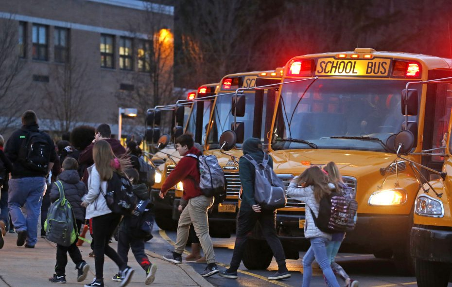 Students arrive shortly after 7 a.m. for classes at Gowanda Central.  (Robert Kirkham/Buffalo News)