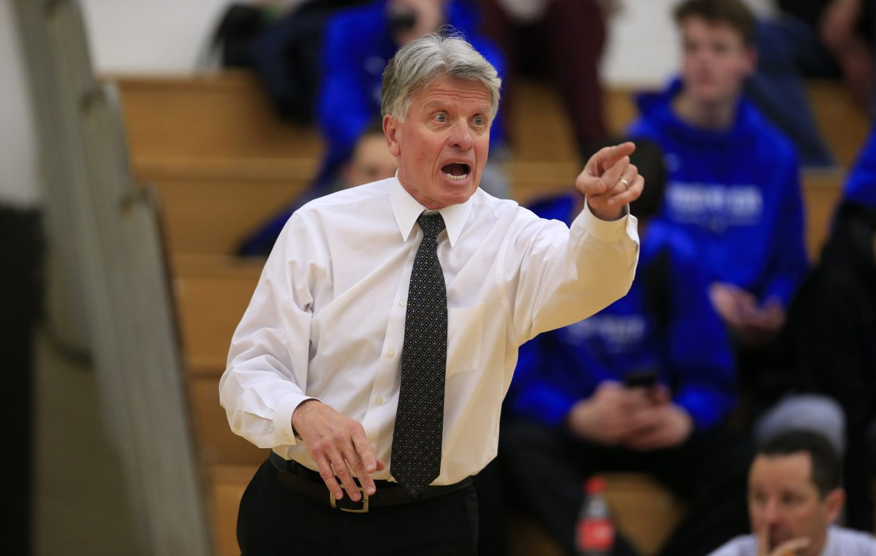 Frontier basketball coach Gary Domzalski makes a point during first-half action at Williamsville North Tuesday. (Harry Scull Jr./.Buffalo News)