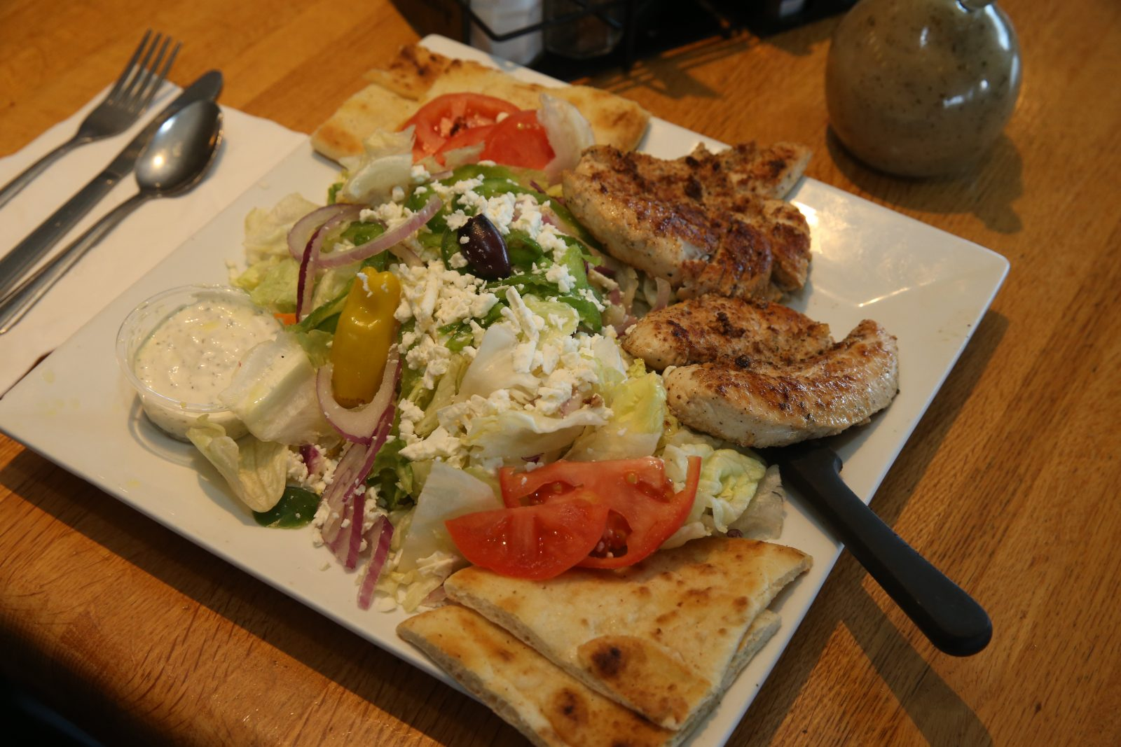 An open chicken souvlaki is a specialty at the Athens restaurant. (John Hickey/Buffalo News)