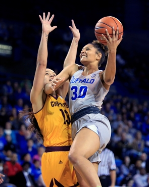 The University at Buffalo women fell to Central Michigan, 100 to 95 despite a second-half rally before a crowd of 3,854 at Alumni Arena Saturday, Feb. 16, 2019.